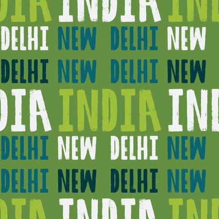 New Delhi, India seamless pattern, typographic city background, texture. Illustration
