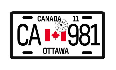 Canada car plate design on white background. Simple colours illustration.
