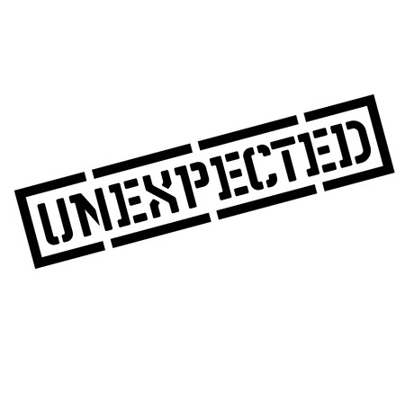 unexpected black stamp, sticker, label on white background Illustration