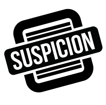 suspicion black stamp, sticker, label on white background