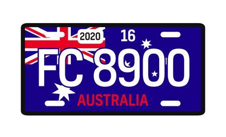 Australia car plate design on white background. Simple colours illustration. Stock Illustratie