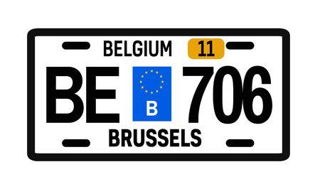 Belgium car plate design on white background. Simple colours illustration. Stock Illustratie