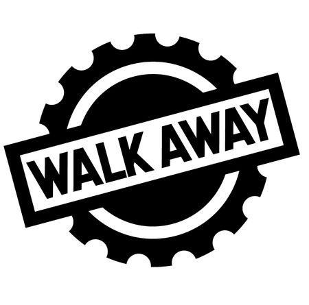 walk away black stamp, sticker, label, on white background