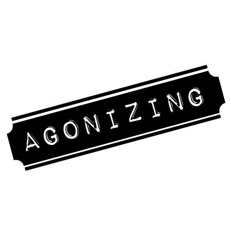 agonizing black stamp, sticker, label on white background