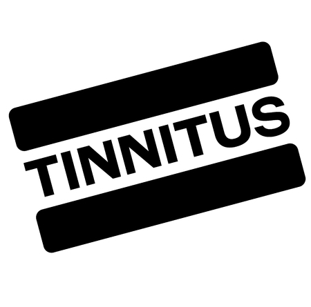 tinnitus black stamp, sticker, label on white background
