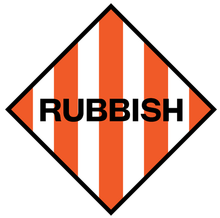 Rubbish fictitious warning sign, realistically looking illustration