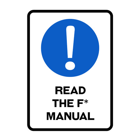 Read the f manual fictitious warning sign, realistically looking. Stock Illustratie