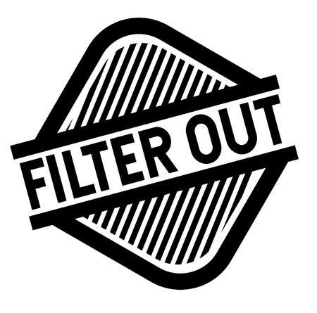 Filter out black stamp on white background. Flat illustration
