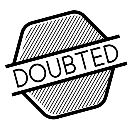 Doubted black stamp on white background. Flat illustration