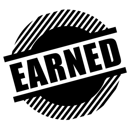 Earned black stamp on white background. Flat illustration