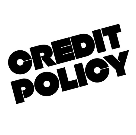 Credit policy stamp on white