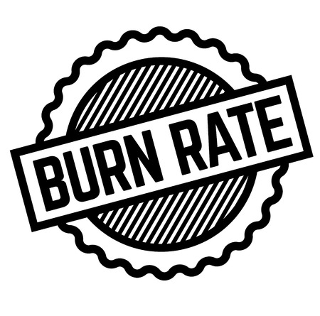Burn rate black stamp on white background. Flat illustration