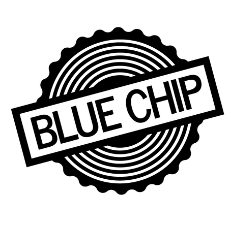 Blue chip black stamp on white background. Flat illustration