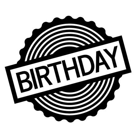 Birthday black stamp on white background. Flat illustration