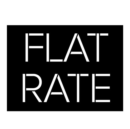 Flat Rate black stamp on white background. Flat illustration