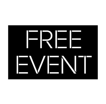 Free Event black stamp on white background. Flat illustration