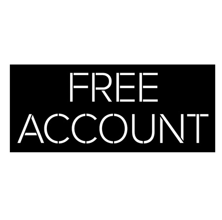 Free Account black stamp on white background. Flat illustration Illusztráció