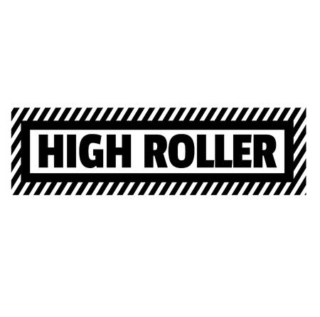 High roller black stamp on white background. Flat illustration