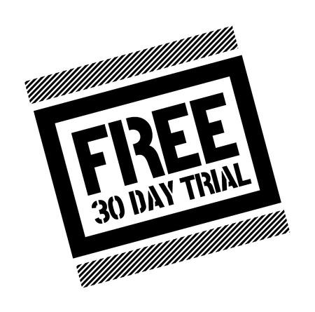 Prova gratuita di trenta giorni timbro nero su sfondo bianco. Illustrazione piatta Vettoriali