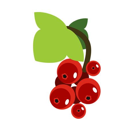 rote Johannisbeere flache Abbildung. Essen und Trinken, Küche und Kochen, Obst- und Gemüseserien.