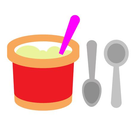 ice cream bucket flat illustration. Food and drink, dessert image on white