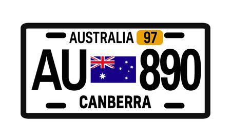 Australia car plate design on white background. Simple colours illustration. Illustration
