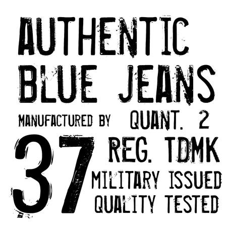 Denim label typographic elements isolated on white background.