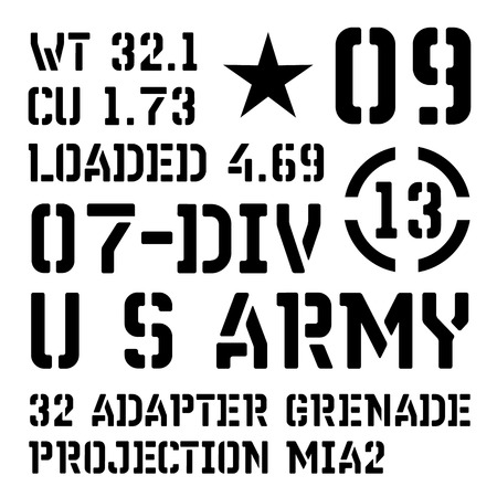 Armed forces stencil sign collection. Black on white background. Banco de Imagens - 124418147