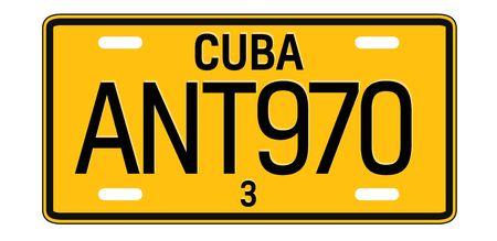 Cuba car plate design on white background. Simple colours illustration. Vetores