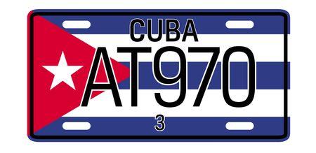 Cuba car plate design on white background. Simple colours illustration.