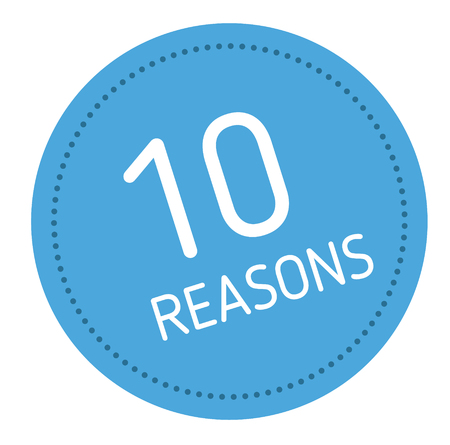 ten reasons advertising sticker, label, stamp on white