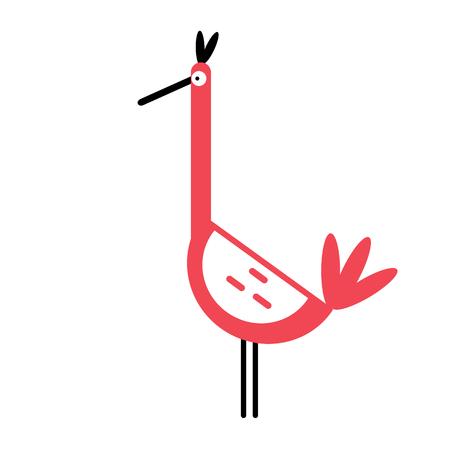 Bird simlple art geometric illustration. Icon, graphic symbol, part of image design . Animals and Africa