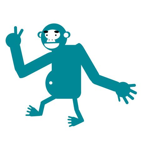 Monkey simple art geometric illustration. Icon, graphic symbol, part of image design . Animals and Africa