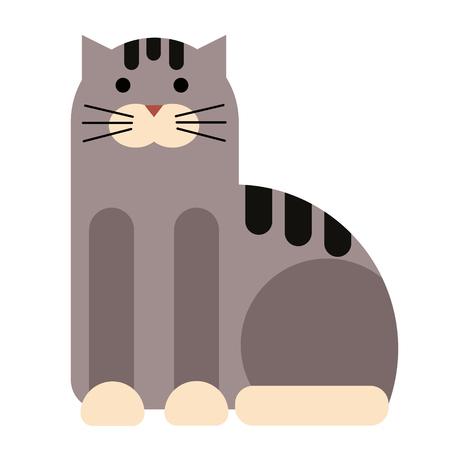 Cat flat illustration on white background. Animals and wildlife series.