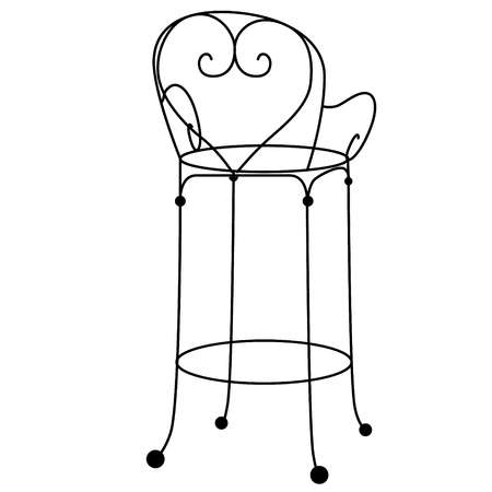 Chair flat illustration on white background. Hike, travel and lifestyle series.