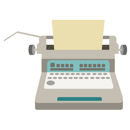 Typewriter flat illustration on white background. Home and lifestyle series. Ilustrace