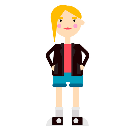 Teenage girl flat illustration on white background. Home and lifestyle series.
