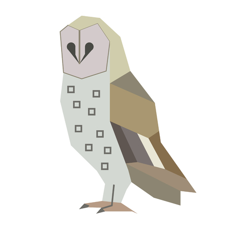 Owl flat illustration on white background. Animals and wildlife series.