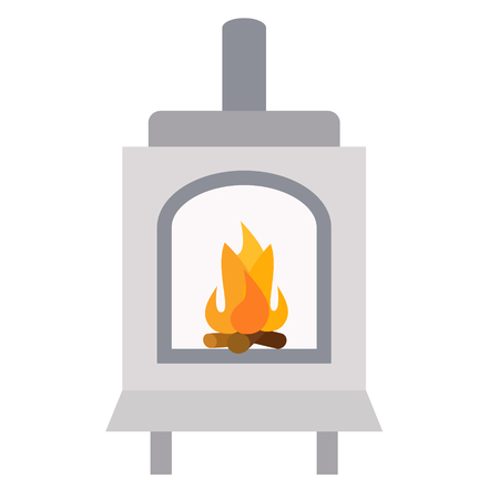 Furnace flat illustration on white background. Home and lifestyle series. Vectores