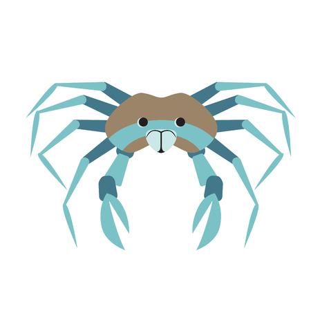 Crab flat illustration on white background. Marine and underwater series.