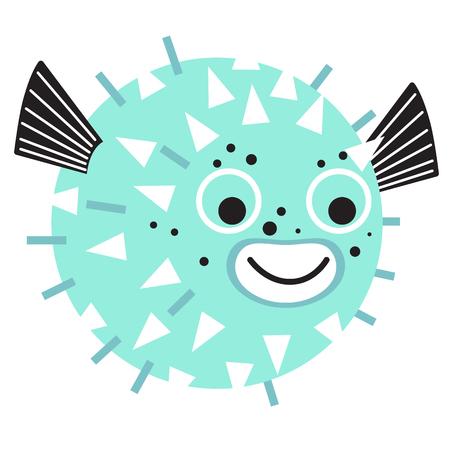 Globefish flat illustration on white background. Marine and underwater series.