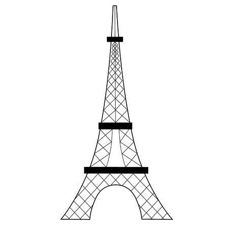 Ilustración plana de la torre eiffel en blanco