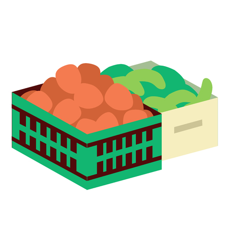 vegetables box flat illustration on white background. Rural life and farm series. Banque d'images - 119177343