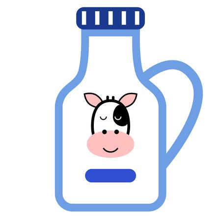 botella de leche ilustración plana en blanco Ilustración de vector