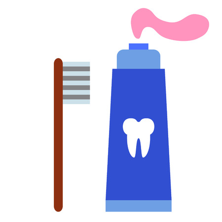 toothpaste flat illustration on white