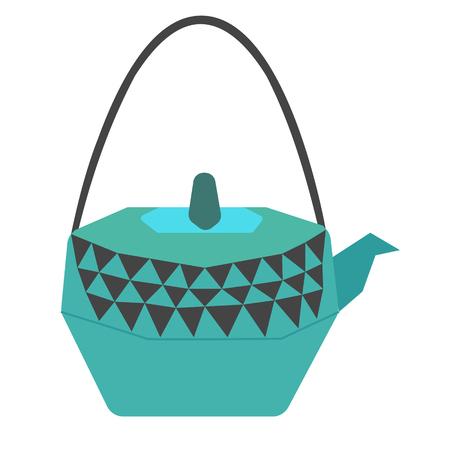 teapot flat illustration on white Illustration