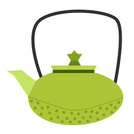 teapot flat illustration on white Illustration