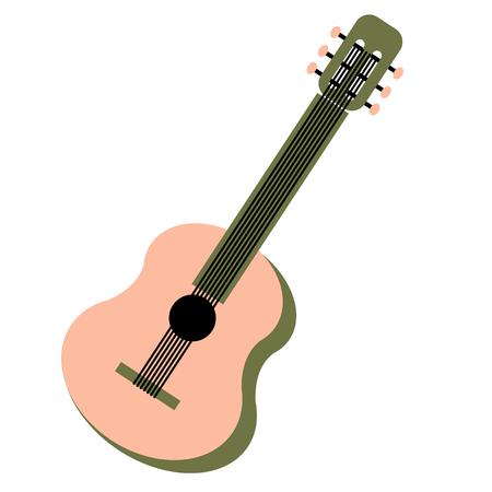 guitar flat illustration on white Çizim