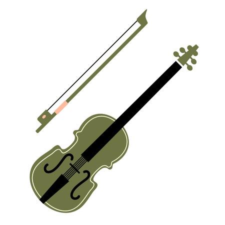 violin flat illustration on white