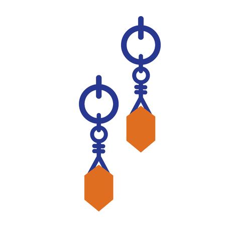 earrings flat illustration on white